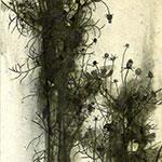 『此処_06』 / 90.9×30.3cm / 和紙、岩絵具、墨、鉄粉